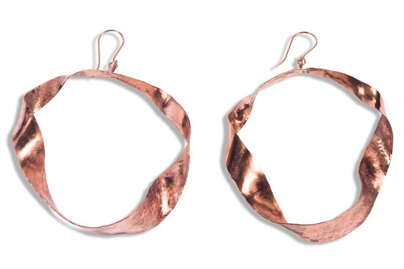 Boucles d'oreilles cuivre martelé