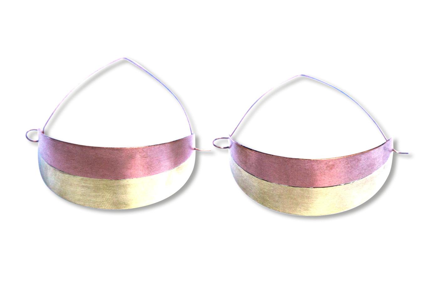 Boucles d'oreilles laiton et cuivre