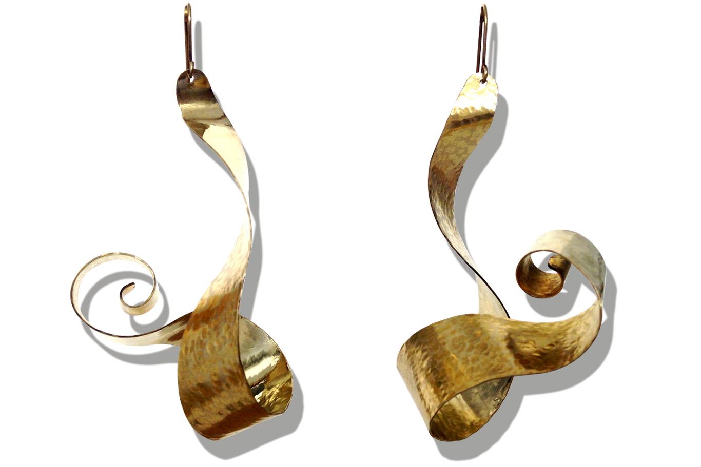 Boucles d'oreilles laiton martelé
