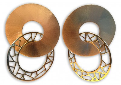 Boucles d'oreilles à clip, laiton brossé, poli, repercé