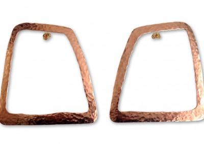 Boucles d'oreilles en cuivre martelé