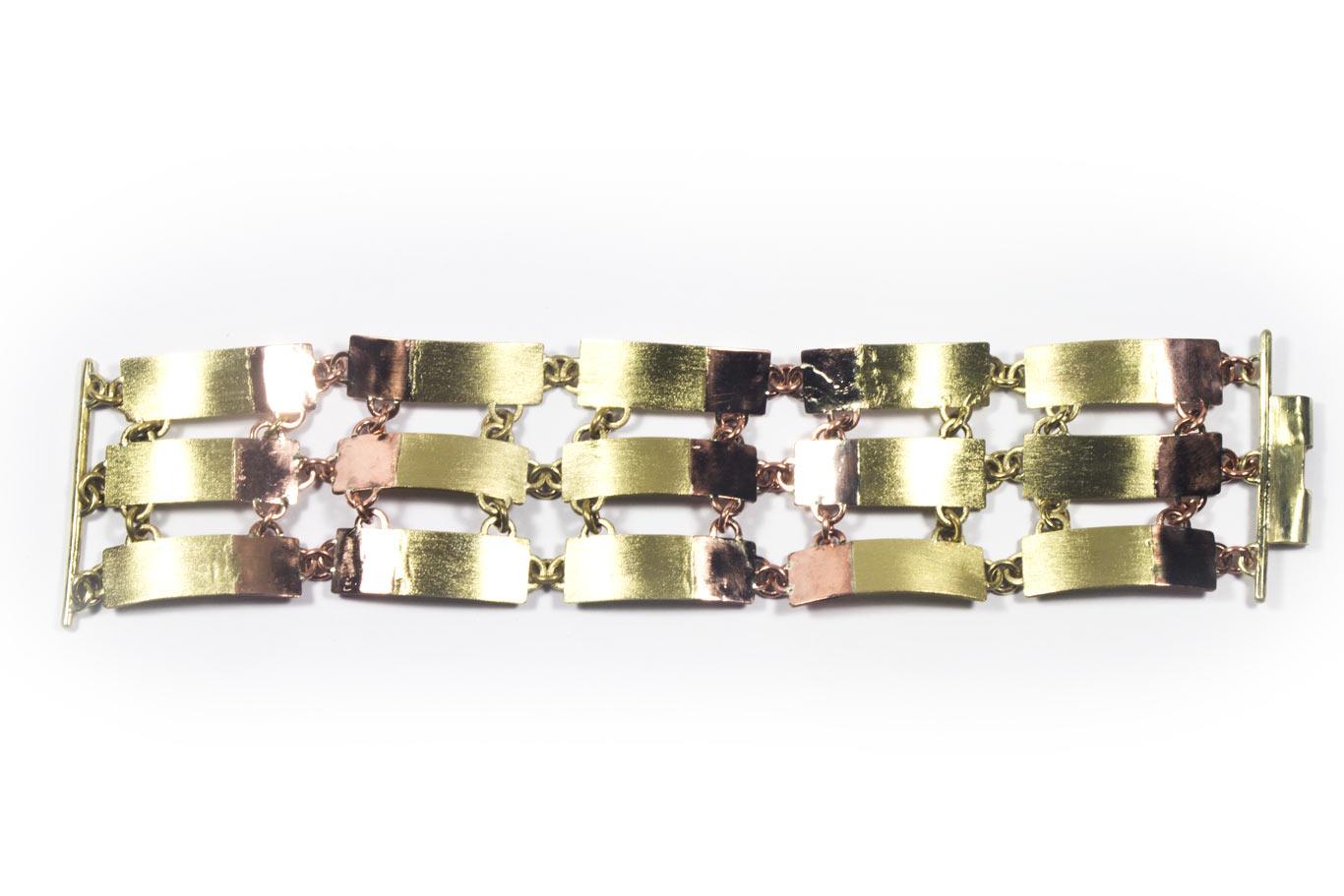 Bracelet articulé, bi-matière laiton satiné et cuivre poli